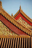 A closed up view of roof decoration in Forbidden City  Beijing  China