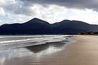 United Kingdom, Northern Ireland, County Down, Newcastle, Mourne Mountains, Murlough National Nature Reserve, View of beach with mountains
