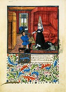 Italy, Dedication to a Lady, miniature from a French manuscript of the Book of Theseus also known as Theseid of the Nuptials of Emilia, Teseida delle ...