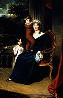LADY LOUISA HARVEY 1758_1841. Wife of British naval officer Sir Eliab Harvey. With her children Edward and Louisa. Oil on canvas by Sir Thomas Lawrenc...