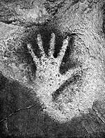 CAVE ART: EL CASTILLO. /nLeft handprint from a ceiling in the cave of El Castillo, near Santander, Spain, c15,000 B.C.