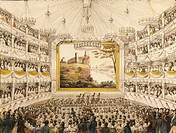 Austria, Vienna, Interior of the Theater an der Wien Vienna Theater, watercolored print by J.C. Schoeller