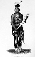 SENECA MAN, 1851. /nDä_Ah_De_A, a Seneca Native American man in traditional Iroquois dress. Aquatint engraving from Lewis Henry Morgan´s ´League of th...