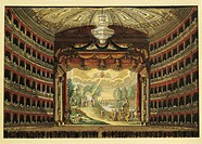 Italy, 19th century - Milan, the Teatro alla Scala. Interior.  Milan, Museo Teatrale (Scala)