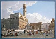 XIX CENTURY ITALY FLORENCE SQUARE SIGNORIA  Parma, Museo Glauco Lombardi (Art Museum)