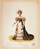France, Paris, costume sketch for Elvira for performance Don Giovanni or the Rake Punish´d, at Opera Le Peletier