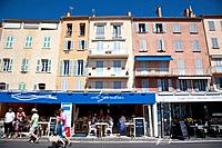 Seafront shops and restaurants, Saint Tropez, Cote d'Azure, Provence, France