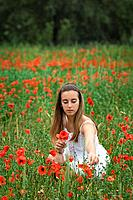 Girl picking poppies at field