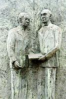Sculpture of a Simon Bolivar and his teacher in Las Palmas, Gran Canaria
