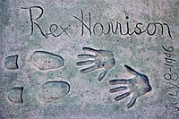 Rex Harrison's hand and foot prints at Grauman's Chinese Theatre, Hollywood, Los Angeles, California, USA