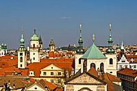 Church of St Salvator and Clementinum in Prague, View from the Old Town bridge tower over the roofs of the old town, Prague, Bohemia, Czech Republic