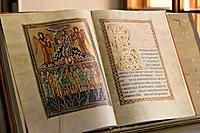 Old historical open book in the Strahov Library, Strahov Abbey, Prague, Bohemia, Czech Republic