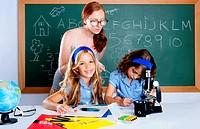 kids students with nerd teacher woman at school classroom