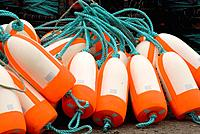 New buoys for crab traps near commercial fishing harbor, Brookings, Oregon