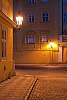 Typical street with historic streetlamps at night, Mala Strana, Prague, Bohemia, Czech Republic