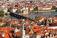 View over the old town of Prague with the Charles Bridge, UNESCO World Heritage Site, Prague, Bohemia, Czech Republic