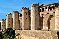 Aljaferia palace, XIth c , fortified walls and towers, Saragossa Aragon Spain