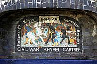 One of a series of 8 mosaics set into the wall around Aberystwyth Castle, this one depicting the civil war in 1644-49