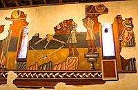 Romanesque murals in the church of Sant Joan de Boi - Representation of minstrels - Vall de Boi - Pyrenees - Lleida Province - Catalonia - Cataluña - ...