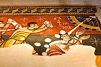 Romanesque murals in the church of Sant Joan de Boi - Stoning of St  Stephen - Vall de Boi - Pyrenees - Lleida Province - Catalonia - Cataluña - Catal...