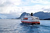 Hurtigruten, the Norwegian coastal ferry sailing north, Norway