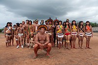 traditional dance by Xingu indians in the Amazon, Brazil
