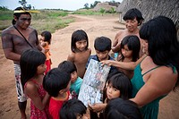 Xingu indian family in the Amazone, Brazil