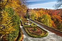 The garden of Ksiaz castle, Sudeten Mountains, Silesia Region, Poland, Europe