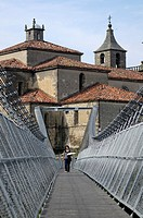 View of the Church of Cangas de Narcea from the suspension bridge, Asturias, Spain