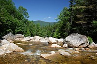 Pemigewasset Wilderness - Just beyond the large boulders is the location of where a timber trestle once spanned the East Branch of the Pemigewasset Ri...
