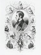 Portrait of Italian writer and poet Alessandro Manzoni, framed by depictions of characters of The Betrothed, engraving