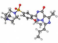 Vardenafil, molecular model. This erectile dysfunction drug is marketed as Levitra. Atoms are represented as spheres and are colour_coded: carbon grey...