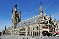 The Grand Place with Cloth Hall and belfry at Ypres, Belgium