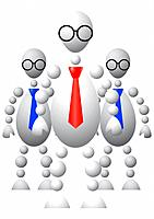 Group of three mans in ties and round glasses