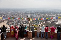 People standing on the observatory, Swayambhunath temple, Pashupatinath, Bhaktapur, Kathmandu, Nepal, South Asia