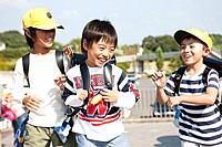 Elementary school students walking to school