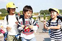 Elementary school students walking to school