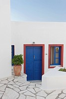 blue door of white house in Santorini, Cyclades Islands, Cyclades Prefecture, Greece, Europe