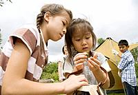 Girl holding a grasshopper, Chiba Prefecture, Honshu, Japan