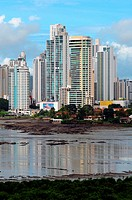 Skyscrapers in Punta Paitilla and Punta Pacifica neighbourhoods, Panama City, Republic of Panama, Central America