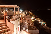 Village of Oia on the Greek islands at night in Santorini, Oia, Cyclades Islands, Cyclades Prefecture, Greece, Europe
