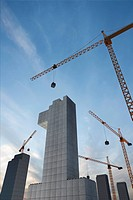 Tower Crane holding figure of one, computer_generated