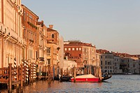 view of Grand Canal at sunset, Venice, Italy, Europe