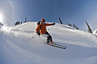 woman skiing, Valhalla Mountain Touring Lodge, British Columbia, Canada
