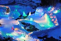 Night View, Stratus valley icefall festival, Ishikawa River, Kamikawa, Hokkaido, Japan