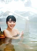 Young Woman in Hot Spring