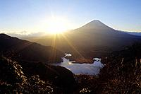 Mt. Fuji and sunrise, Yamanashi Prefecture, Honshu, Japan