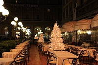 Restaurant, Christmas tree, outdoor, winter, night, table, chair, Florence, Italy, Europe