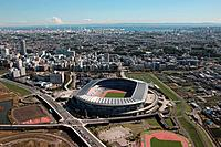 Aerial view of Nissan stadium, Yokohama City, Kanagawa Prefecture, Honshu, Japan