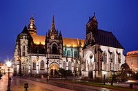 St. Elisabeth Cathedral, church, night view, Kosice, Slovakia, Europe